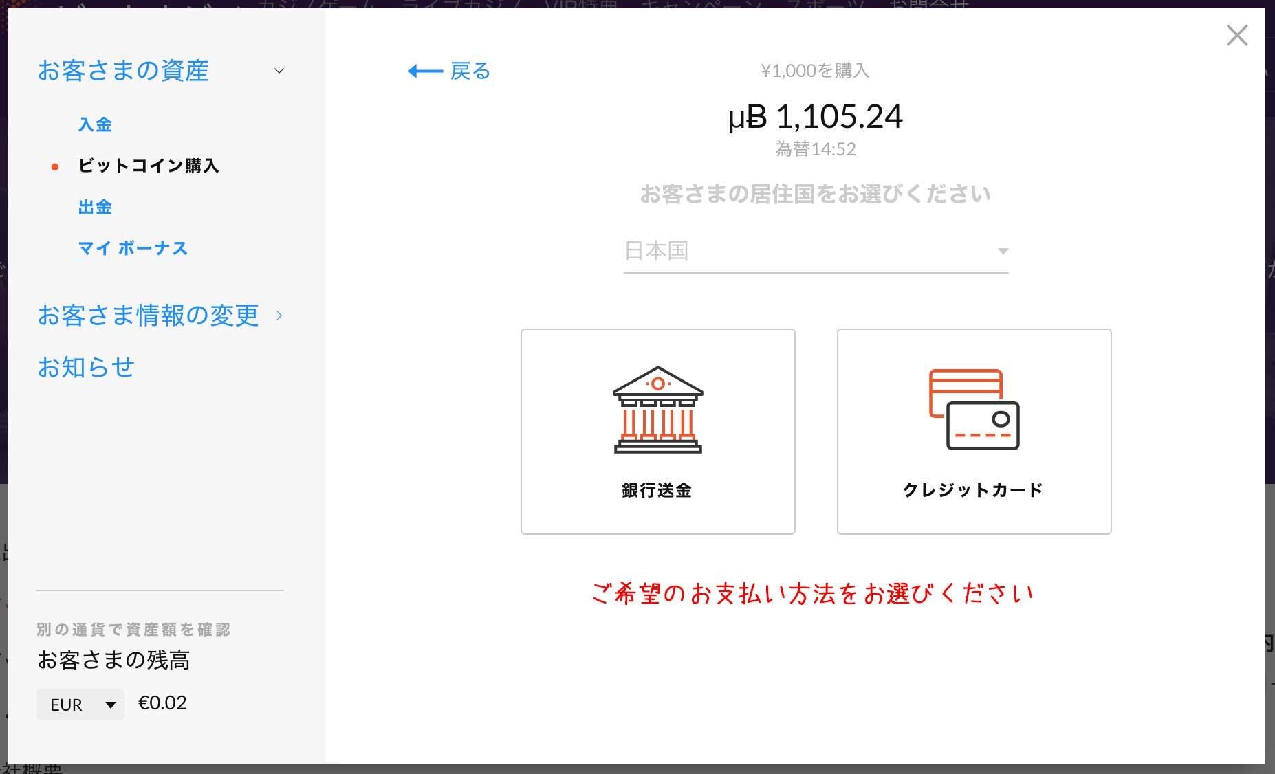 クレジットカードで購入を選択する画面